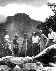 Ruth Robertson (second from left) in front of Angel Falls with Alexander Laime to her right